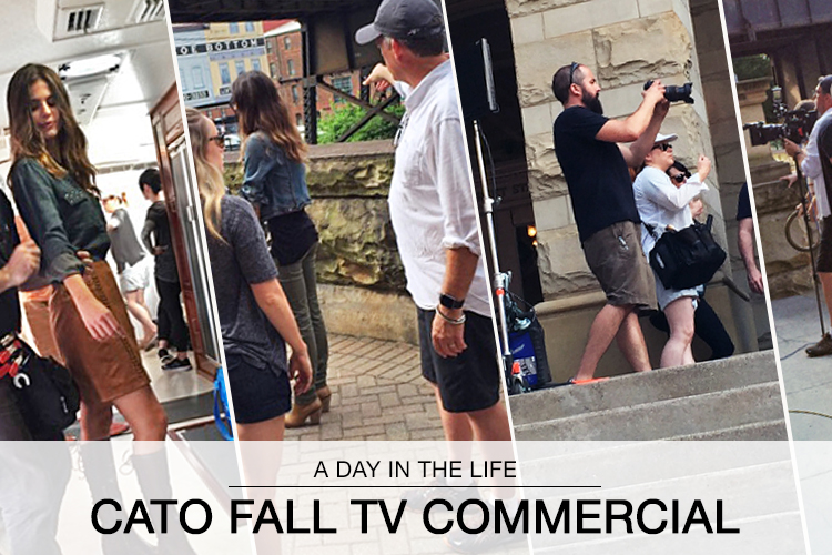A Day in the Life: Cato Fall TV Commercial. A collage of behind the scenes photos of the fall commercial shoot.
