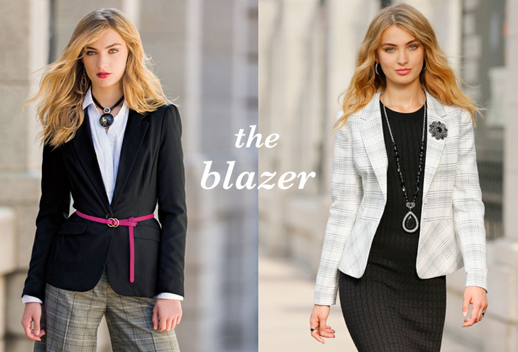 The Blazer. A black blazer with pink belt and a plaid blazer with a broach.