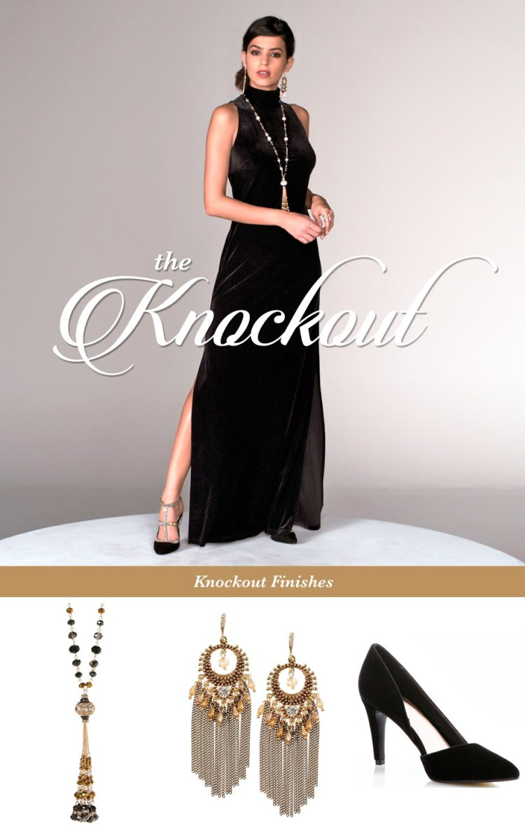 The Knockout. A model wearing a black velvet maxi dress. Photos of a tassel necklace, tassel earrings and black heels finish the look.