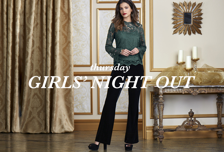 Thursday Girls' Night Out. A beautiful woman wearing a lace top and velvet bootcut pants.