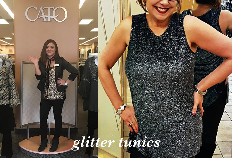 Glitter Tunics. Two happy Cato associates wearing sparkling glitter tops with black skinny pants.