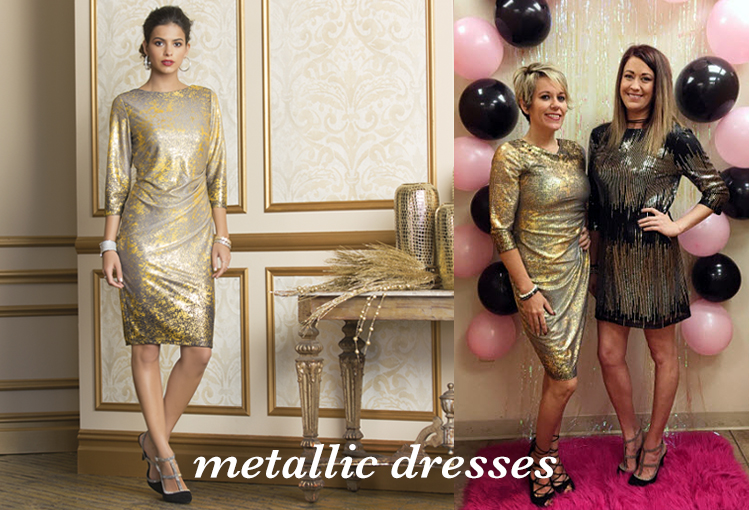Metallic Dresses. Cato associates wearing a metallic gold holiday dress.