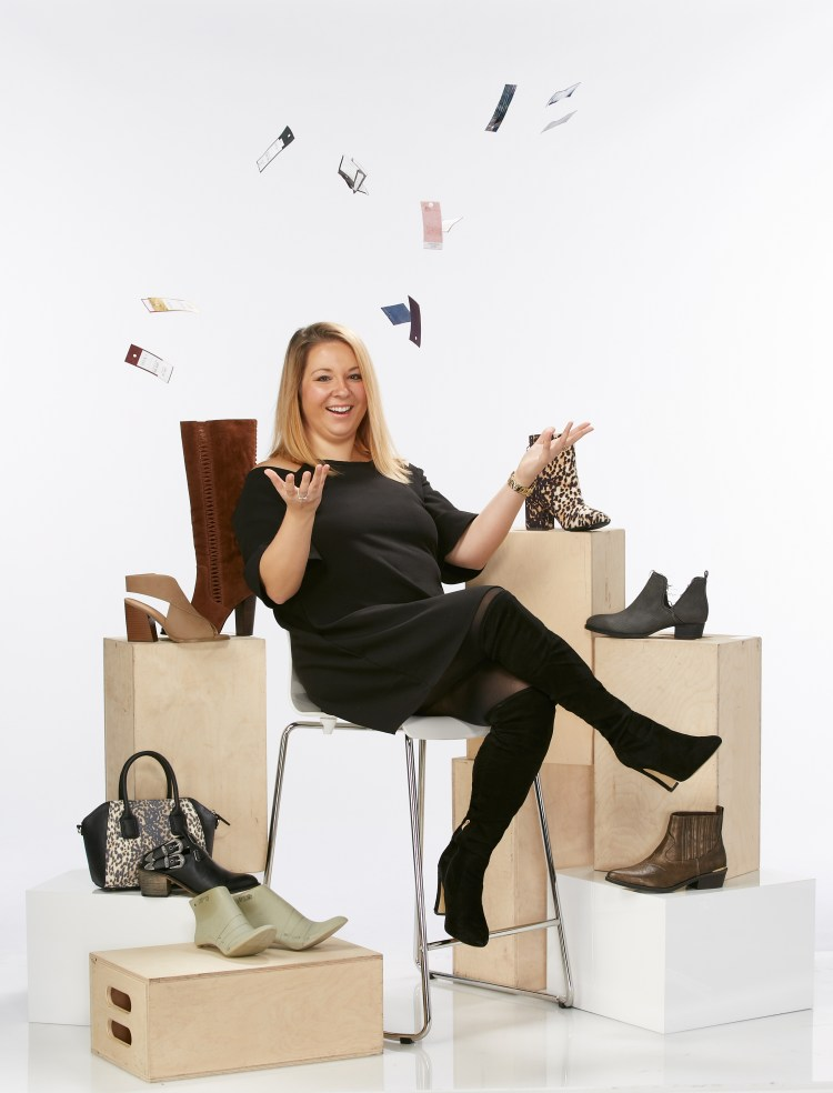Meet the Cato Designer: Jenna. Jenna pictured in front of a variety of boots and handbags throwing swatches up in the air playfully.