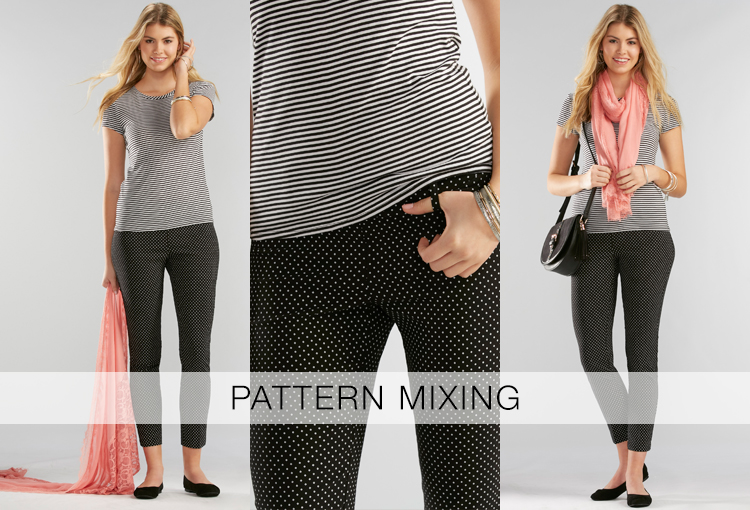 Pattern Mixing. A beautiful young woman wearing a black and white striped top with a black and white polka dot skinny ankle pant.