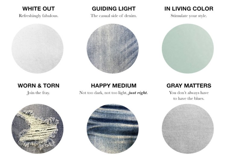 """Six swatches of the different washes of denim for Spring/ Summer to include; """"White Out: Refreshingly Fabulous,"""" """"Guiding Light: The casual side of denim,"""" """"In Living Color: Stimulate your style,"""" """"Worn and torn: Join the fray,"""" """"Happy Medium: Not too dark, not too light, just right,"""" and """"Gray Matters: You don't always have to have the blues."""""""
