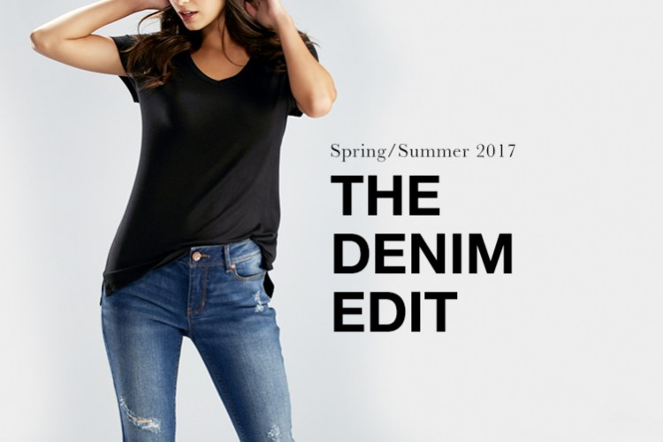 The Denim Edit: Spring/ Summer 2017. A woman in Cato Denim and a black tshirt