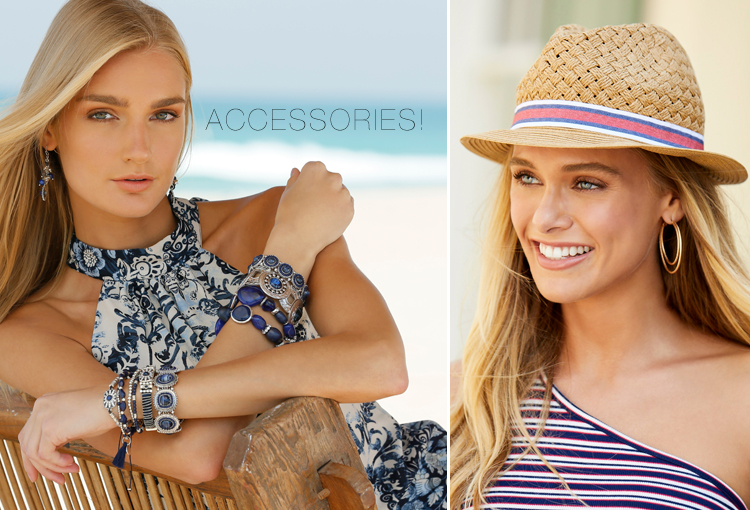 Accessories. A model wearing stacked blue bracelets and another model wearing a cool fedora and hoop earrings.