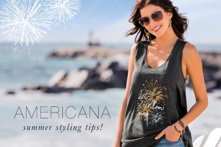 "Americana Summer Styling Tips! A model standing on the beach in a Cato Tank top that says, ""Let Freedom Ring"""