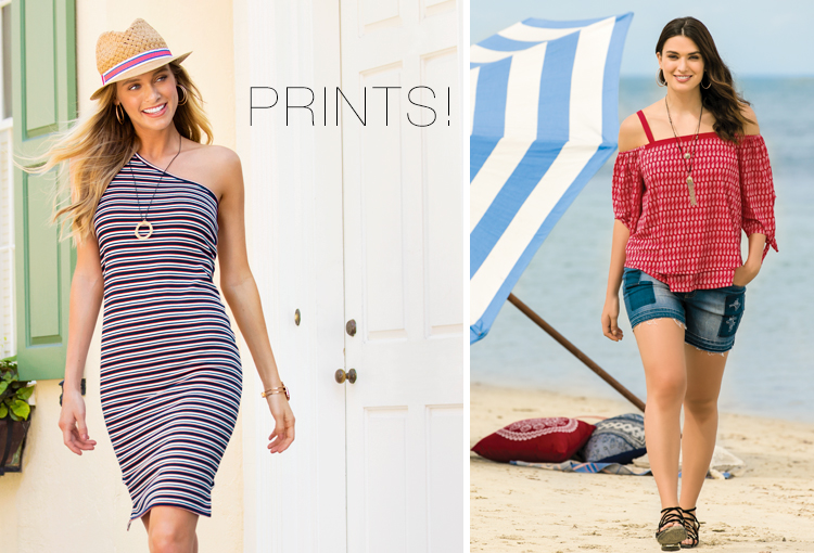 Two beautiful women - one wearing a cool fedora, striped summer dress and pendant necklace; the other wearing an off the shoulder printed top with denim shorts and sandals.
