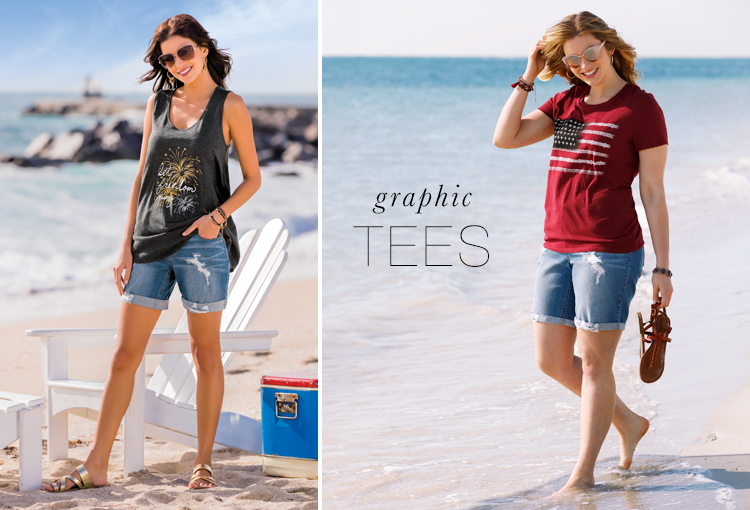 "Graphic Tees. A model wearing a Cato tank top that says, ""Let Freedom Ring"" and another model wearing an american flag t shirt."