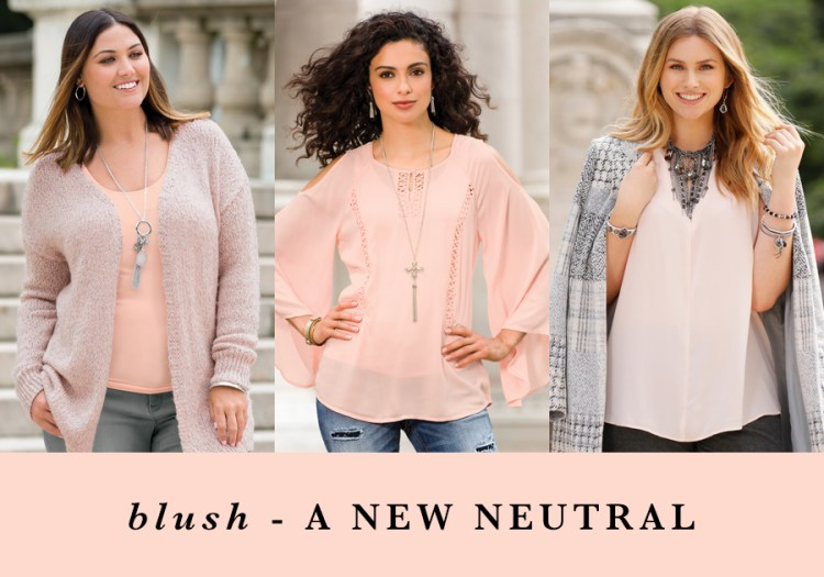 "Three women wearing blush with the caption, ""Blush - A New Neutral"""