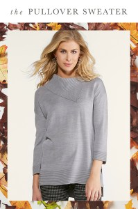 The Pullover Sweater: A woman in a gray pullover sweater
