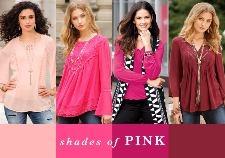 "Four women in all shades of pink with the caption, ""Shades of Pink."""