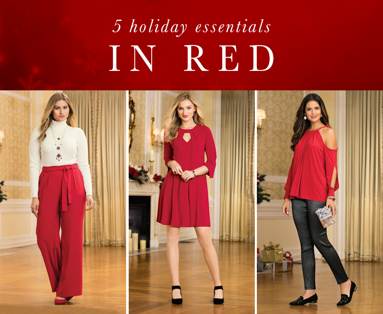 """5 holiday essentials in red"" picture of a woman in cream top and red wide leg pants, a woman in a red swing dress and a woman in a red cold shoulder top and black skinny pants"