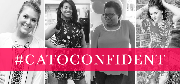 #CatoConfident with black and white images of 4 beautiful women wearing Cato Fashions.
