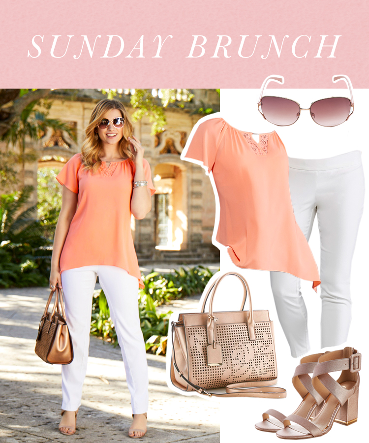 """""""Sunday Brunch"""" Woman in white pants, coral flowy top, heeled sandals and a neutral handbag."""