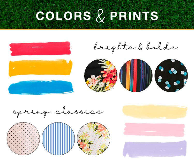 "Captioned, ""Colors and prints"" with three bright spring color swatches and prints, three softer spring color swatches and prints."