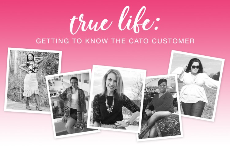 True Life: Getting to know the Cato Customer. Five black and white photos of beautiful women dressed in Cato Fashions.