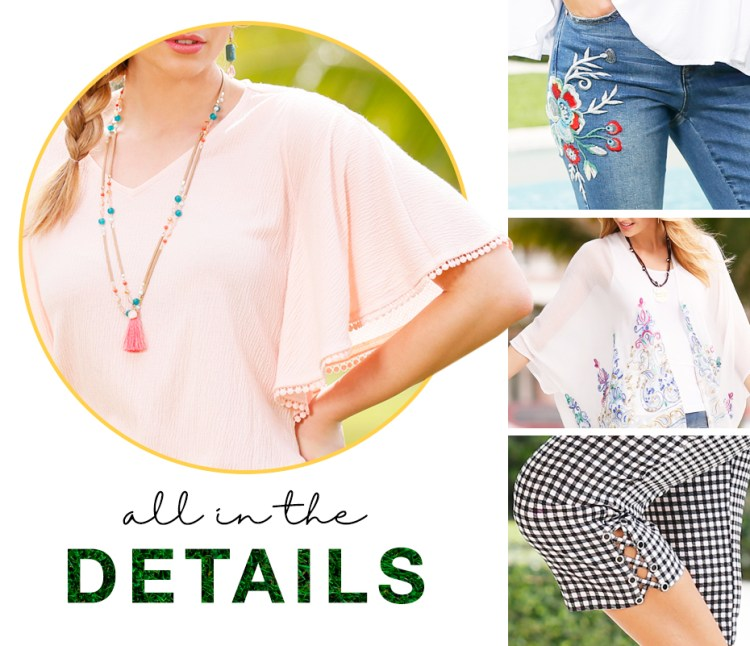 """Close up images of a flutter sleeve detail, crochet on denim detail, printing on a kimono detail and lace up details on cropped pants. Captioned, """"All in the details."""