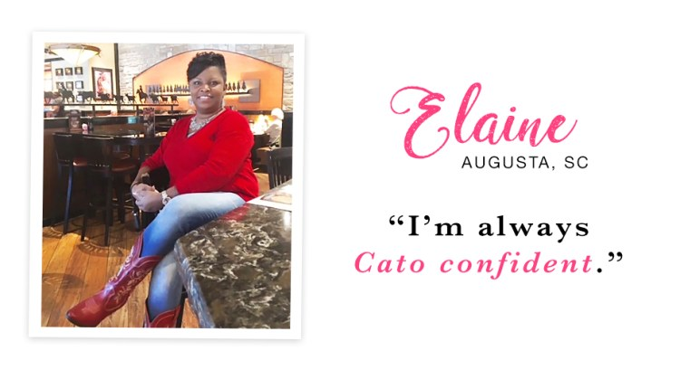 """A young woman sitting at a restaurant wearing a red sweater, jeans and boots. Captioned, """"I'm always Cato confident. - Elaine, Augusta, SC."""""""