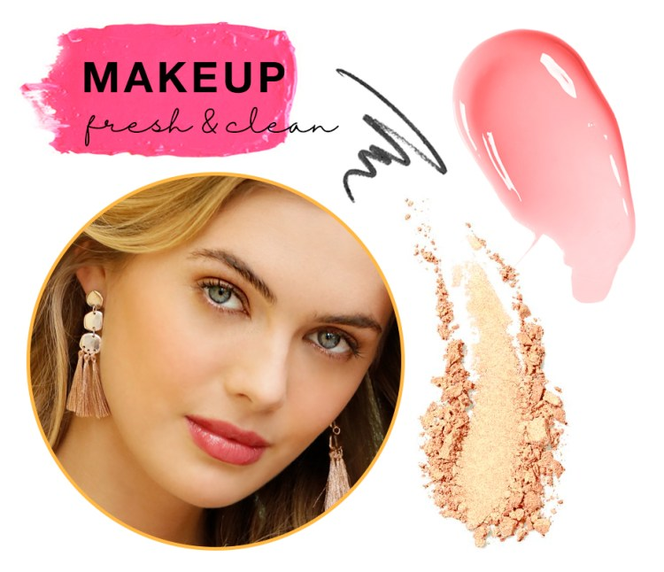 """Captioned, """"Makeup fresh and clean"""" with swatches of powder, lipgloss and eyeliner and a photo of a young woman looking naturally beautiful."""