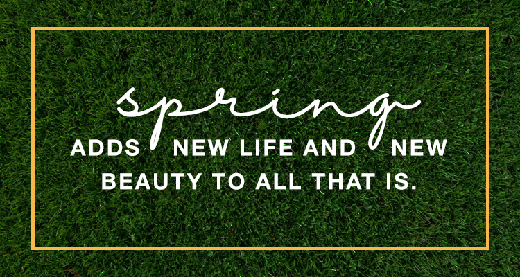 "Quote, ""Spring adds new life and new beauty to all that is."""