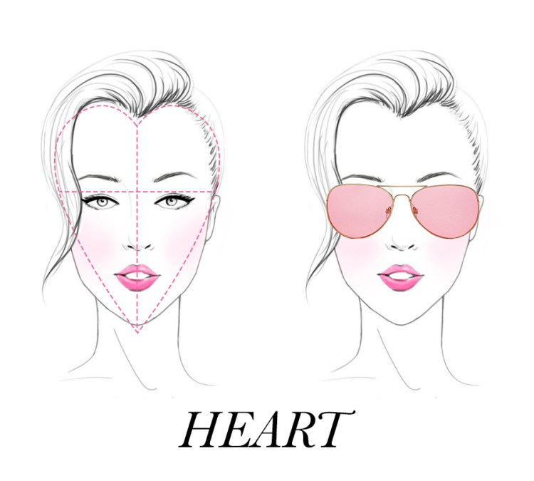 Heart shaped face with Aviators on