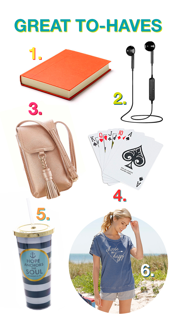 Great To-Haves with pictures of 1. Book, 2. Ear buds, 3. phone case, 4. Pack of Cards, 5. mug, 6. Athleisure outfit