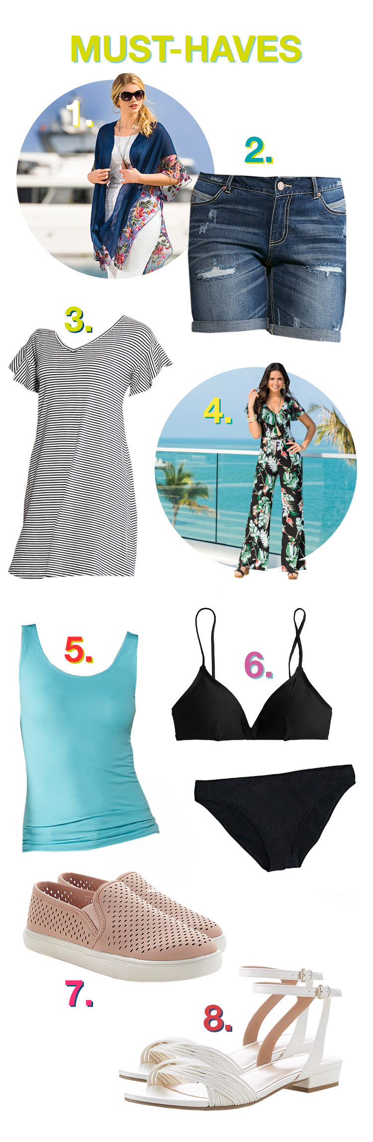 Must-Haves pictures of: 1. Kimono, 2. Shorts, 3. Sun dress, 4. Jumpsuit, 5. Layering Tank, 6. Underwear, 7. Slip on Shoes, 8. Sandals