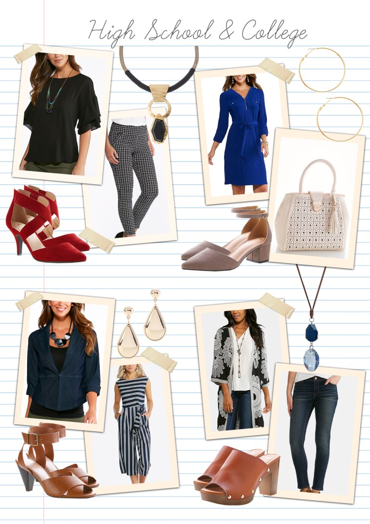 Teaching in style: Highschool and College with examples of items that can easily take you from school hours - to after hours, like a shirt dress, heels and hoop earrings.