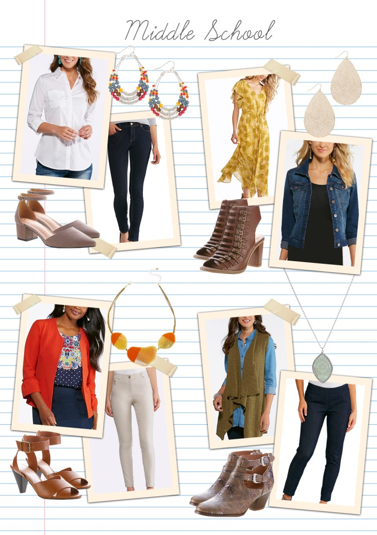 Teaching in style: Middle School with examples of items that are modern and on-trend, like a denim jacket, slim leg pants, and a pendant necklace.
