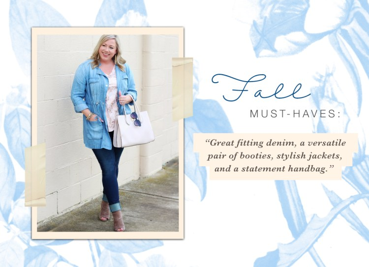 "A quote from Janna on her fall must haves, ""Great fitting denim, a versatile pair of booties, stylish jackets, and a statement handbag."""