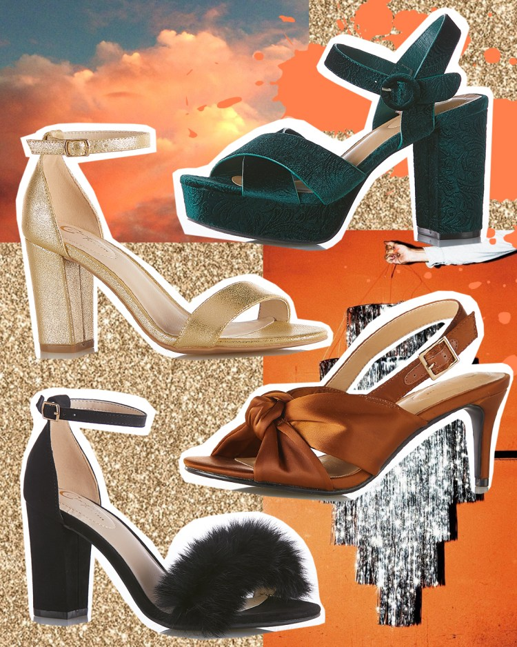 A display of statement heels featuring a Velvet Crossband Platform Sandal in Bewitched Green, metallic gold ankle strap heels, satin knot dress sandals in carmel cafe, and finally fur pom heeled sandals in black.