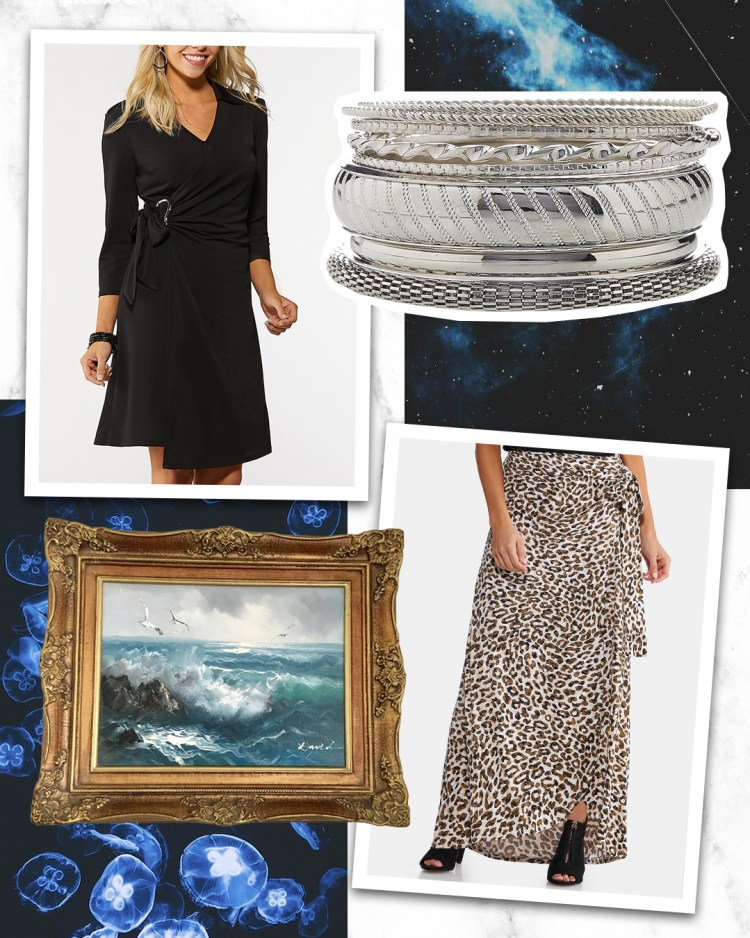 Buckle Wrap Dress in Black, XL Silver Statement Bangle Set, and Leopard Faux Wrap Maxi Skirt