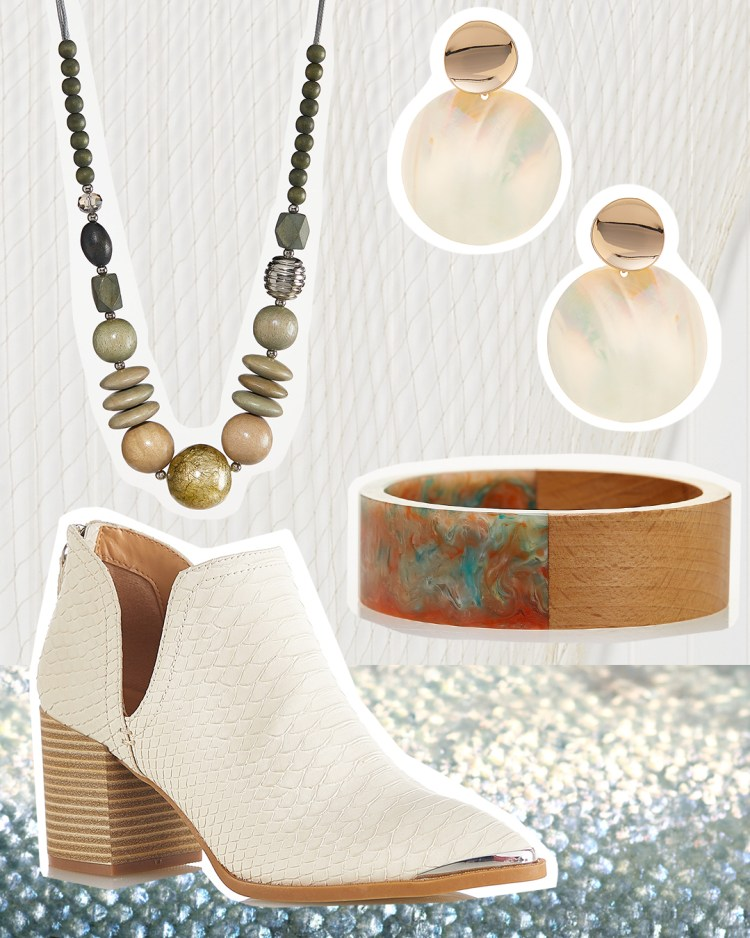 Snakeskin Heeled Booties in Ivory, Shell Disc Earrings in white and gold, Watercolor Wood Bangle Bracelet, and Multi Wood Bead Necklace.