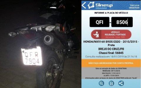 moto roubada em sao bento pb e recuperada pela policia militar