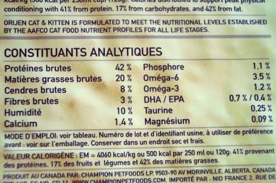croquettes Orijen, constituants analytiques