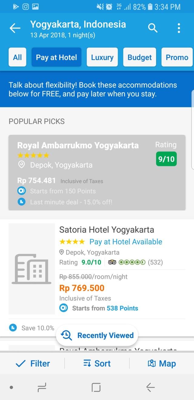 1. Setelah menentukan tanggal cek in, filter pencarian dengan tombol filter Pay at hotel seperti diatas