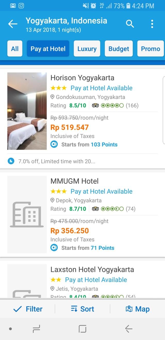 2. Dengan begitu hanya akan muncul hotel yang bisa dipesan dengan fasilitas Pay At hotel ini.