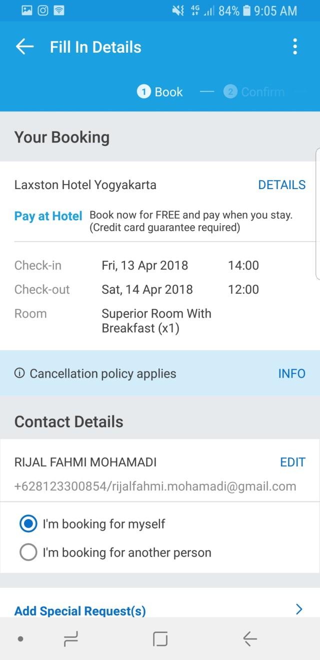 5. Dengan menggunakan fasilitas Pay At Hotel Traveloka kita tidak akan dikenakan biaya apapun di awal pemesanan, pembayaran cukup dilakukan waktu cek in di hotel nanti.
