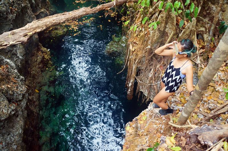 Bisa terjun dari sini untuk merasakan segarnya air gua