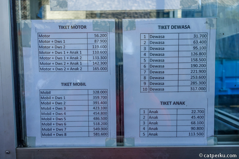 Daftar tarif penyeberangan ke Nusa Penida dari Pelabuhan Padang Bai.