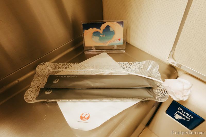 Di kamar mandi ada sikat gigi, setelah mendarat pun mulut akan tetap segar!