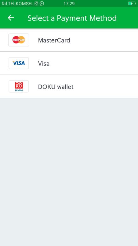 Grab bisa dibayar dengan apps Doku Wallet, yang ada saldo tentunya :D