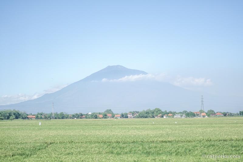 Gunung Cereme terlihat indah di kejauhan sesaat sebelum sampai di Stasiun Cirebon