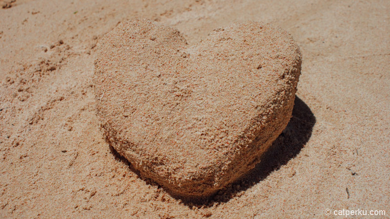 Kalau males renang, main pasir di pantai pink juga oke