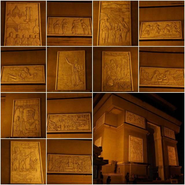 Relief - relief unik inilah yang membedakan Monumen Simpang Lima Gumul dengan Arc De Triomphe yang ada di Paris.