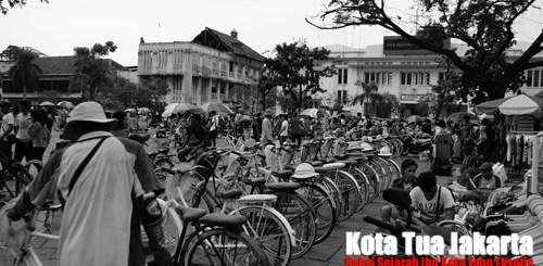 Deretan sepeda onthel yang ada di Kota Tua Jakarta