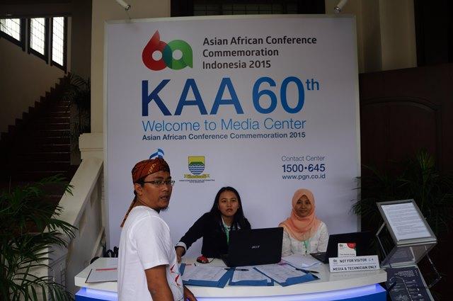Media center rangkaian acara Peringatan KAA 2015 di Bandung.