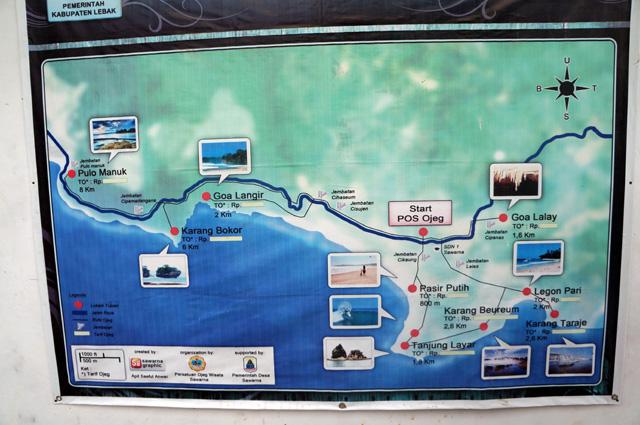 Peta wisata Desa Sawarna, dengan semua destinasi disekitarnya